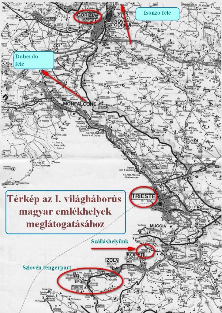 Az I.világháborús magyar emlékhelyek meglátogatása - térkép