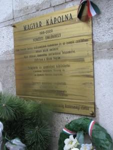 A Visintini_magyar_kápolna emléktáblája