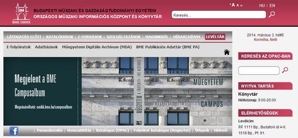A BME-OMIKK honlapja