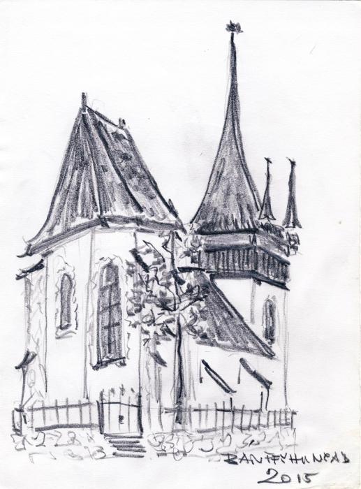 Bánffyhunyad temploma Tolai György rajza