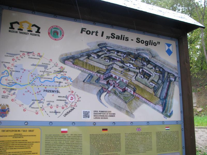 A Przemyl főerődje a Salis Soglio magyar nyelven is tájékoztató táblája