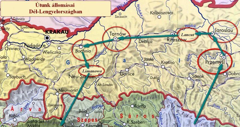 Térkép_Galicia_1914_utvonalunk_800